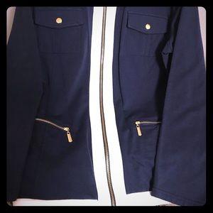 Nautical Navy Blue White Gold Zip-Up Sweat Shirt
